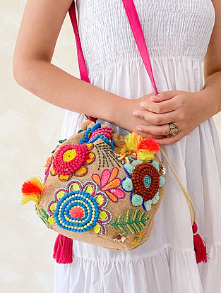 Multicolored Hand Embroidered Jute Sling Bag