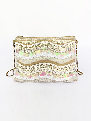 White Handcrafted Embellished Canvas Cotton Sling Bag