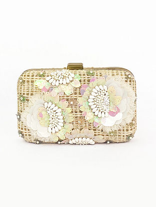 White Woven Embellished Cotton Jute Clutch