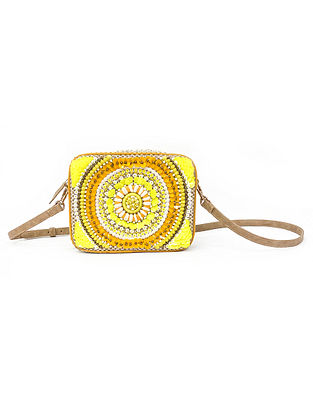 Yellow Handcrafted Embellished Poly Jute Sling Bag