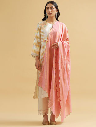 Pink and Gold Cotton Dupatta with Scallops