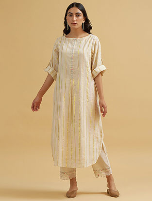 Off White and Gold Embroidered Cotton Tunic