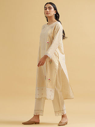 Off White and Gold Embroidered Cotton Kurta with Scalloped Hem