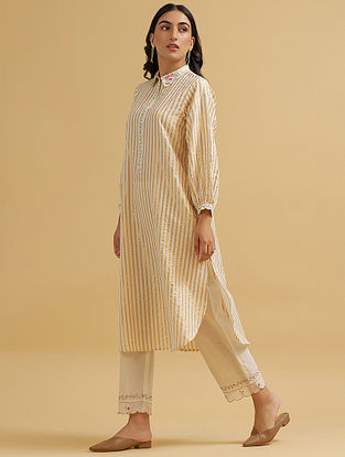 Off White and Gold Embroidered Cotton Kurta