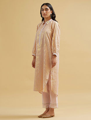 Pastel Pink and Gold Embroidered Cotton Kurta