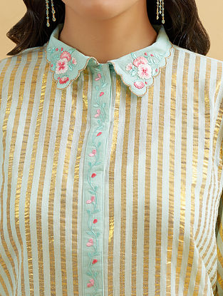 Mint and Gold Embroidered Cotton Kurta