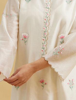 Off White Silk Chanderi Embroidered Kurta with Scalloped Placket