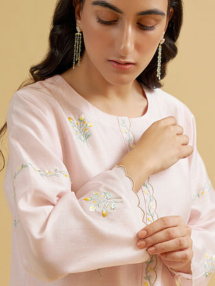 Pastel Pink Silk Chanderi Embroidered Kurta with Scalloped Placket