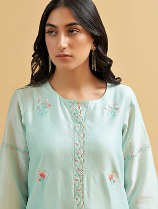 Mint Silk Chanderi Embroidered Kurta with Scalloped Placket