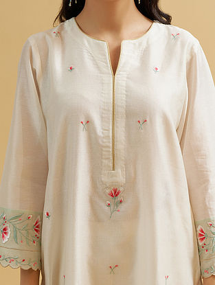 Off White Silk Chanderi Embroidered Kurta with Scalloped Sleeves