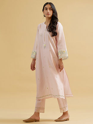 Pastel Pink Silk Chanderi Embroidered Kurta with Scalloped Sleeves