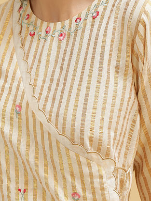 Off White and Gold Embroidered Cotton Angrakha Kurta