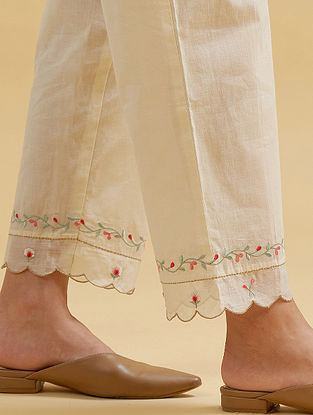 Off White Cotton palazzos with Embroidered Hem