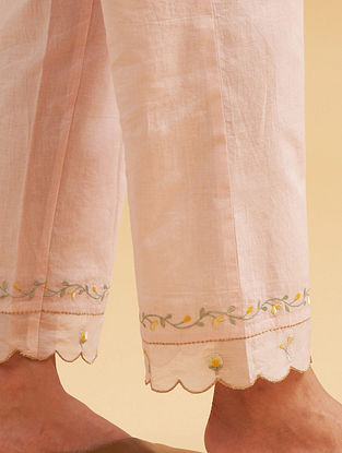Pastel Pink Cotton Palazzos with Embroidered Hem
