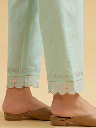 Mint Cotton Palazzos with Embroidered Hem