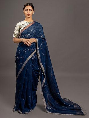 Blue Jamdani  Silk  Saree