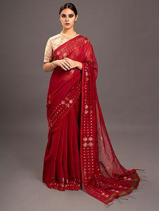 Red Jamdani Silk  Saree