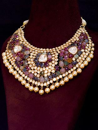 Multicolour White Gold Tone Polki Silver Necklace