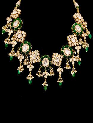 Green White Gold Tone Polki Silver Necklace