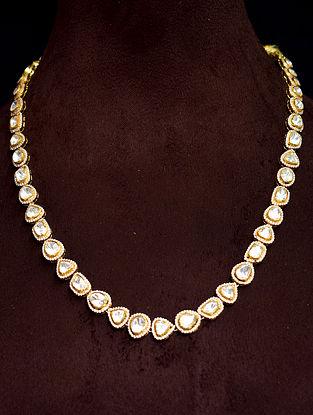 White Gold Tone Polki Silver Necklace