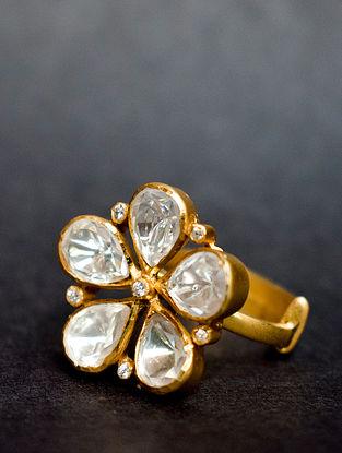 White Gold Tone Adjustable Polki Silver Ring