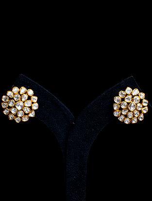 White Gold Tone Polki Silver Earrings