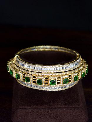White Green Gold Tone Silver Bangle (Size: 2/8)
