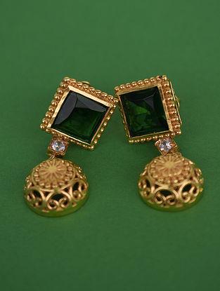 Green White Gold Tone Polki Silver Earrings
