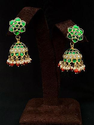 Red Green Gold Tone Polki Silver Jhumki Earrings