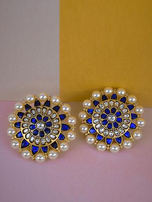 Pearl Blue White Gold Tone Silver Earrings
