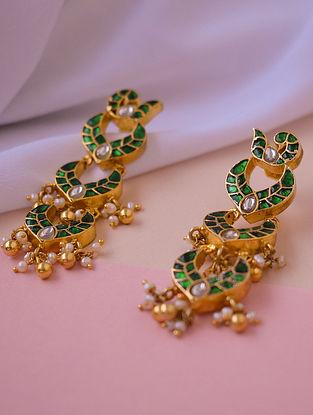 Green White Gold Tone Silver Earrings