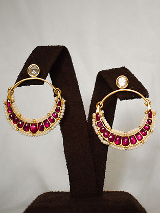 Red White Gold Tone Silver Earrings