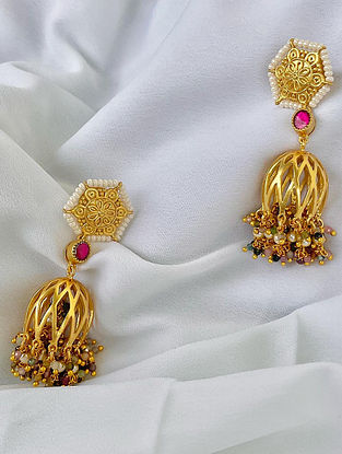 White Red  Multicolour Gold Tone Silver Earrings