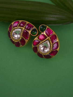 Red Green White Gold Tone Silver Earrings