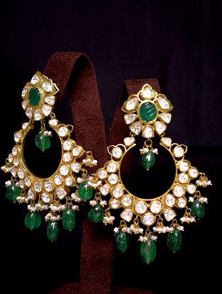 White Green Gold Tone Polki Silver Earrings