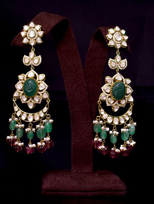 White Green Red Gold Tone Polki Silver Earrings