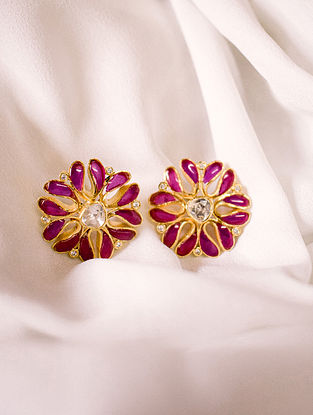 Red White Gold Tone Polki Silver Earrings