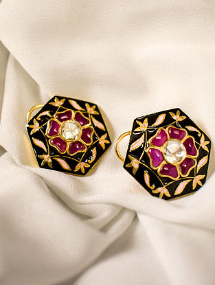 Red White Black Gold Tone Polki Silver Earrings