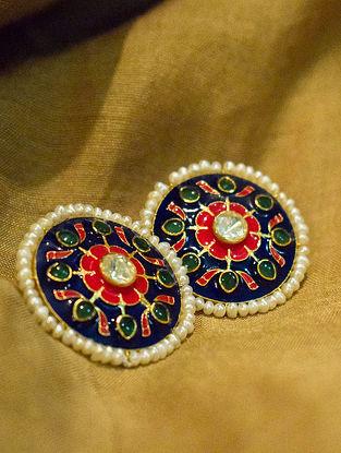 White Red Royal Blue Gold Tone Polki Silver Earrings