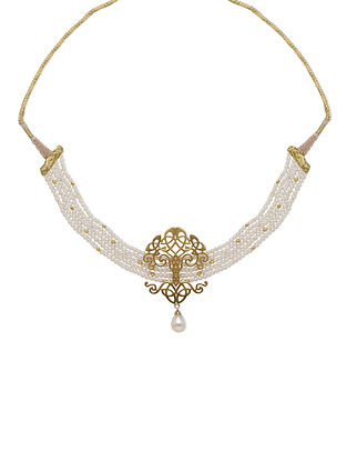 Gold Tone Sterling Silver Choker Necklace