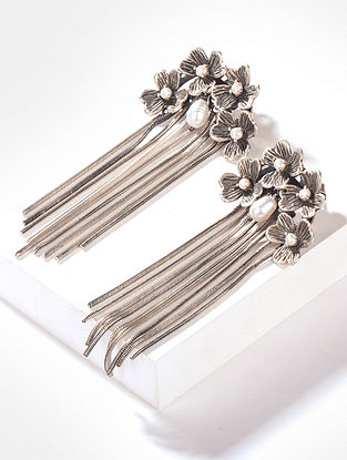 Tribal Silver Earrings with Fresh Water Pearls