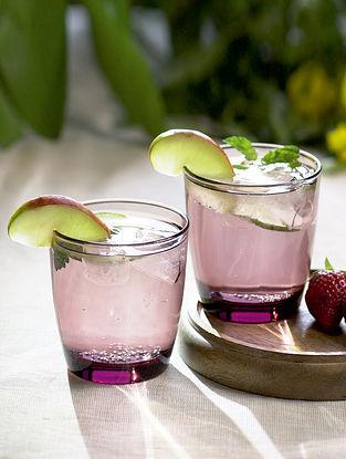 Purple Glass Jamuni Juice Glass (Set Of 2)