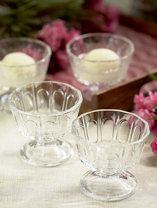 Glass Shehtuti Dessert Bowl (Set Of 4) (Dia-3.5in ,H- 3in)