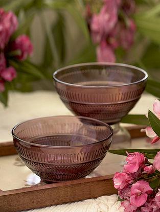 Purple Glass Shehtuti Snack Bowl (Set Of 2) (Dia-4.5in ,H- 2.65in)