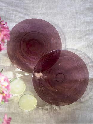 Purple Glass Shehtuti Snack Plate (Set Of 2) (Dia -7.5in)
