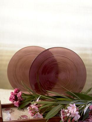Purple Glass Shehtuti Snack Plate (Set Of 2) (Dia - 9.75in)