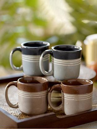 Gray Tea Cups (Set Of 2) (Dia-2.95in ,H-3.22in)