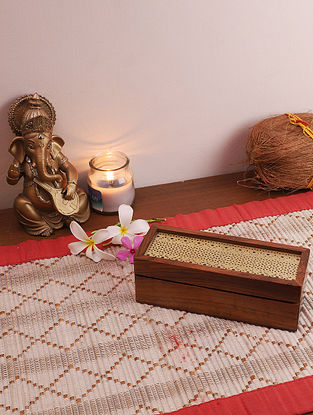 Brass & Brown Pavitra Box With 3 Partitions (L - 7in ,W - 2.5in ,H - 2.25in)