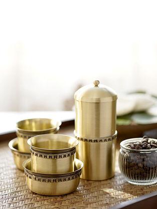Antique Brass Bhor Filter Coffee Set