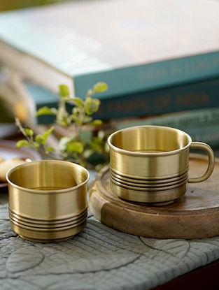Antique Brass Bhor Tea Cups (Set Of 2 )